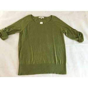 Ann Taylor LOFT Sweater Large Olive Green 3/4 Slv